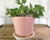 Shawnee Pottery Planter Ribbed Pink with White Tray Vintage Flowerpot Cottage Garden Shabby Chic Decor Girls Bedroom