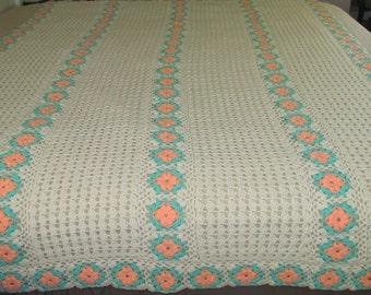 Vintage Crochet Afghan Spread, Ivory Peach Mint Green, Handmade Bedding, Couch Sofa Throw, Heirloom