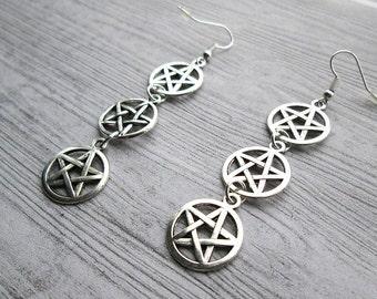 Triple Pentacle Earrings, Triple Pentagram Earrings, Pagan earrings, Wiccan earrings, Wiccan Jewellery, Wiccan jewelry, Wicca accessories,