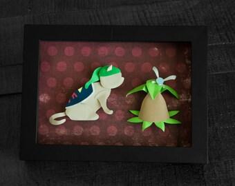 Zelda - Cat Link and Navi - Video Game Shadow Box