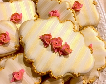 Baroque Style, Marie Antoinette Cookie-24 Pcs, for Wedding, Bridal Shower Cookies, Bridesmaids' Gifts, Birthday, Anniversary
