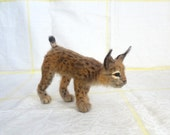 Reserved - Woolen Sculpture Lynx - Needle Felted Art Animal