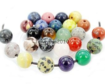 20Pcs Natural Randomly Mixed Amazonite Gemstones Stone (2mm) Big Hole Round Loose Beads 6mm 8mm 10mm 12mm Jewelry Design