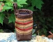 Handmade Rock Climbers Chalkbag, Climbing Chalk Bag, Durable Material, Blue, Green, Tan, Dog Walkers Bag - Acadia Stripe Design