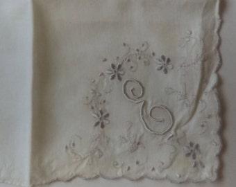 Antique White Handkerchief Lavender E Embroidered 1920s
