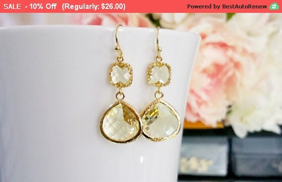 Yellow Earrings, Autumn in Love Citrine Earrings, Gold Drop Earrings - Dangle Earrings,bridesmaid gifts,Wedding Earrings, Bridesmaid jewerly