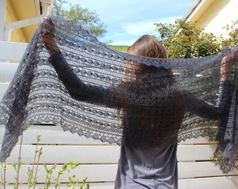 Victorian lace shawl, beautifully hand knitted of a kid-mohair & silk yarn in a modern charcoal shade