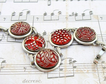 Crimson - Czech glass button bracelet, repurposed jewelry, up-cycled bracelet