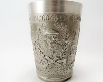 Antique Pewter Cup, 1900 Souvenir Johannes Gutenberg Birth 500th Anniversary, German Pewter Wine Cup, Gutenberg Memorabilia, Book Lover Gift