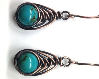 Genuine Deep Color Turquoise Earrings Rustic Wire Wrapped Herringbone Style In Your Choice of Wire December Birthstone