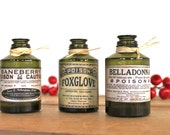Apothecary Poison green bottles old fashioned pharmacy botanical Steampunk Goth Creepy set of 3