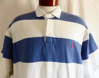 vintage 90's Polo by Ralph Lauren colorblock french blue grey white horizontal stripe rugby shirt style polo shirt red pony logo oversize xl