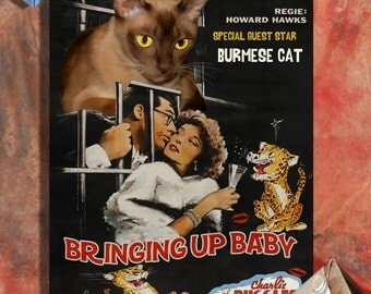 Burmese Cat Fine Art Canvas Print - Bringing Up Baby Movie Poster NEW COLLECTION