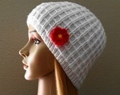 Hand knitted white waffle pattern hat