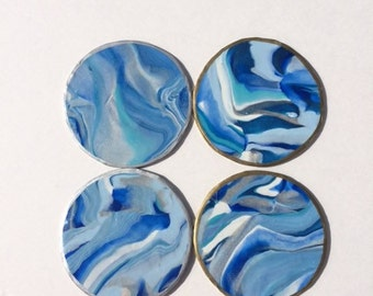Handmade Clay Blue Marbled Coasters-Set of 4