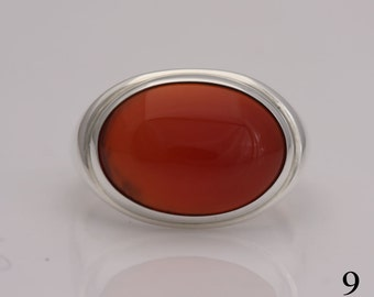 Carnelian ring, size 9 sterling silver and carnelian cabochon ring, #693.