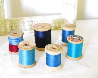 Wooden Spool Vintage Thread Blue