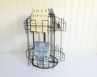 VINTAGE BOOK HOLDER - Post Card Carousel - Black Metal Rotating Store Display Stand - Storage