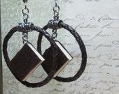 Book Earrings in Braided Hoops, Miniature Book Jewelry, Blank Book Earrings, Book Lovers Earrings, Leather Book Earrings, Tiny Books