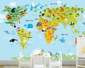 Self adhesive removable wallpaper.World map Kids wall mural. Animals world map wallpaper.