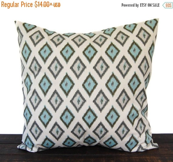 SALE Throw pillow, Pillow Sham, Cushion Cover Pale Smokey Blue and natural Carnival Diamonds