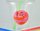 Music Party Cups, Music Cups, Kids Birthday Party Cups, 20 Cups, Band Party Kids Party Cups, Straws and Lids, 12 Ounce Cups