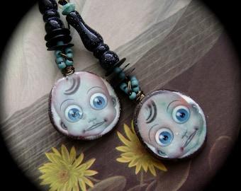Surprise, eye earrings, assemblage earrings, googly eyes, ceramic eyes, blue aqua, mixed media earrings, fun unique earrings, AnvilArtifacts