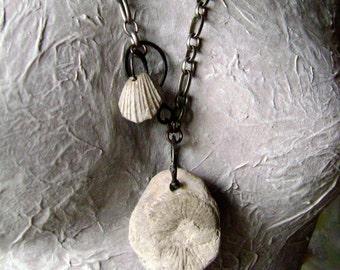 Ammonite in matrix, ammonite necklace, unisex necklace, fossil seashell, organic jewelry, fossil jewelry, fossil ammonite, AnvilArtifacts