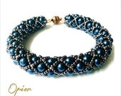 Hand Woven Steel Blue Glass Pearl Bracelet with blue seed beads, Antique Copper Magnet Clasp