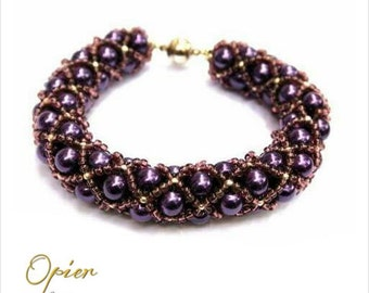 Hand Woven 6mm Purple Czech Glass Pearl Bracelet with matching Toho seed beads, silver accent beads, silver magnet clasp
