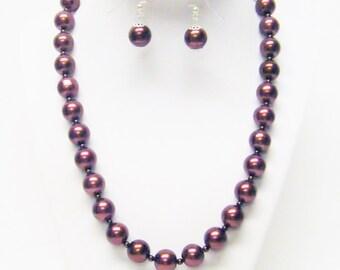 12mm Chocolate Glass Pearl Necklace/Bracelet & Earrings Set