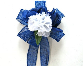 Father's Day bow, Blue and White birthday bow, Special occasion gift bow, Gift wrap bow, Bow for men, Bow for gift baskets (FD22)