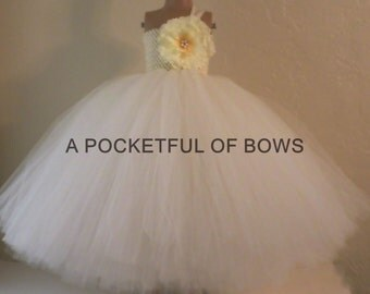 Ivory Flower Girl Dress, Long Tutu Dress, Flower Girl Dress Ivory