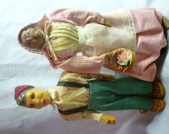 Arkansas Folk Art Doll Pair  c. 1956