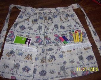 Little girls Apron, sunshine and love apron, activity apron, kitchen apron, school apron, two pocket apron, girls apron