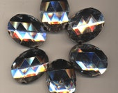 Six Large Clear Prong-Set Faceted Glass Jewels