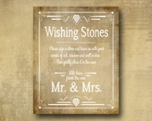 Wishing Stones Wedding sign PRINTED for you in 5x7 or 8x10 - Vintage heart collection wedding signage -  Guest book alternative