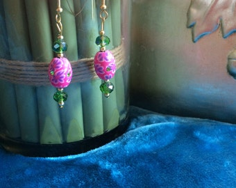 Indian inspired Earrings with Chinese Crystal beads