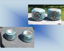 2 Large Hole Dreadlock Beads, Aquarian Star Dread Beads, Teal Hair Accessories, Unicursal Hexagram Beads,  Macrame Beads, Ceramic Pottery