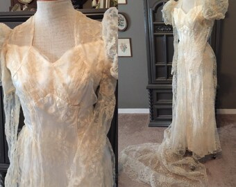40s Flocked Lily of The Valley Wedding Gown