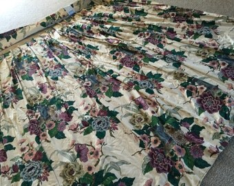 40s 50s Huge Floral Lined Drapes 14'wx7'L