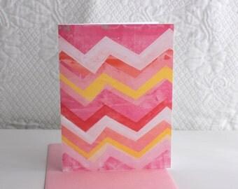 Pink Chevron Notecard Print - Single Card with Envelope