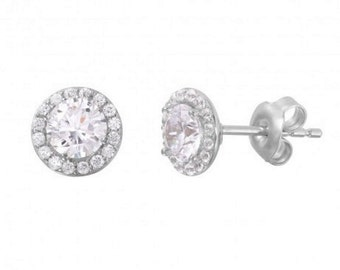 Sterling Silver Rhodium Plated CZ Stud Earrings #37