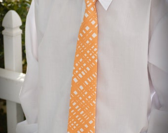 Boys Orange and White Neck Tie