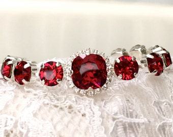 Ruby Bracelet Red Ruby Red Wedding Red Bridesmaids Ruby Wedding Ruby Bridesmaids Red Swarovski Crystal Silver Ruby Bridal Bracelet
