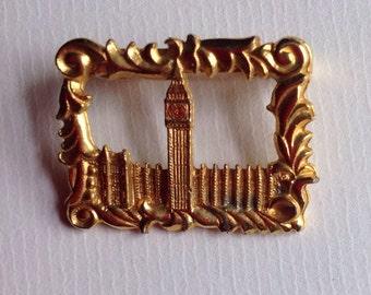 Vintage London Big Ben  Brooch / Gold Tone Textured Metal Brooch