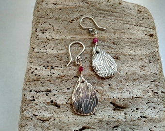 Fine Silver and Pink Tourmaline Gemstone Earrings