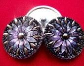 Czech  Glass  Buttons  3 pcs   Gorgeous XL   31 mm   platinum  mix   IVA  XL 142