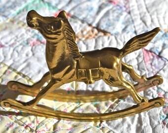 Brass Rocking Horse,  Vintage Figurine. Nursery Decor. Baby Shower Gift. - VD11