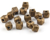 Antique Bronze Mini Hexagon Beads, Square Bead Spacers, Faceted Square Beads, 15 pieces // ABB-013